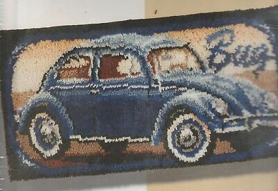 Rare Bernat Crafts Large Latch Hook Rug Kit 40.5Cm X 81.5Cm Volkswagon Beetle