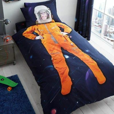 Space Chimp Planets Single Duvet Cover Set + Fitted Sheet + Pillowcase - 4 In 1