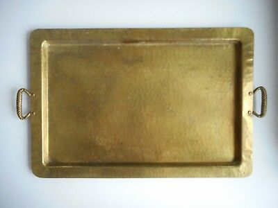 Impressive Arts and Crafts Antique c 1910 Hammered Brass Metal Tray