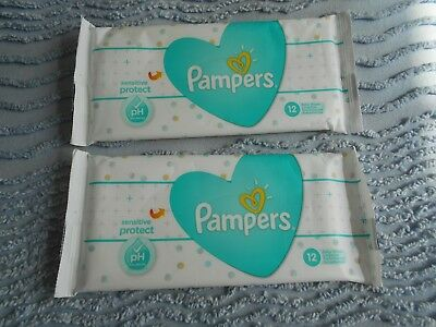 2 Packs of 12 - Pampers Sensitive Baby Wipes