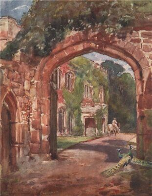 'Astley Castle' by Frederick Whitehead. Warwickshire 1906 old antique print