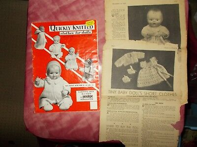 "Vintage Doll's Clothes Knitting Pattern Book & Pattern - Dk - 12-20"" Dolls"