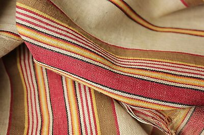 Antique French ticking linen cotton mix woven herringbone weave Vibrant c1880