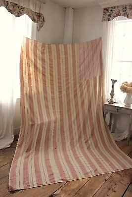 Antique French ticking fabric ~ 19th century LINEN faded material LARGE