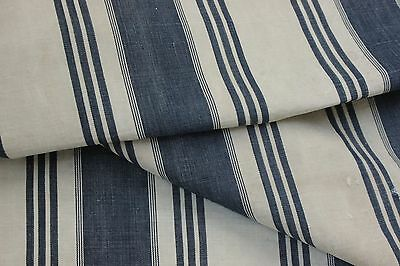 Ticking French fabric denim antique vintage indigo blue stripes 3.97 YARDS