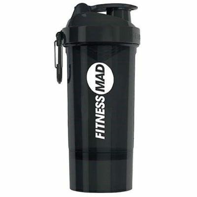 Fitness Mad Smartshake Gym Fitness 600ml Bottle with 200ml Storage Compartment