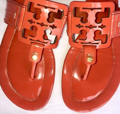 8f571044963eb Tory Burch Women s Miller Square Logo Orange Patent Leather Sandals Size 11