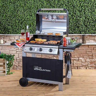 Fire Mountain Everest 3 Burner Gas Barbecue in Stainless Steel/Black