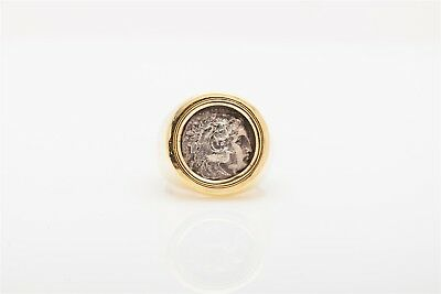Antique GENUINE GREEK ALEXANDER COIN 14k Yellow Gold Mens Band Ring 17g & COA