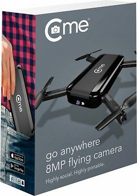 NEW C-me Go Anywhere 8MP Flying Camera Pocket Drone Black easy fly cme selfie