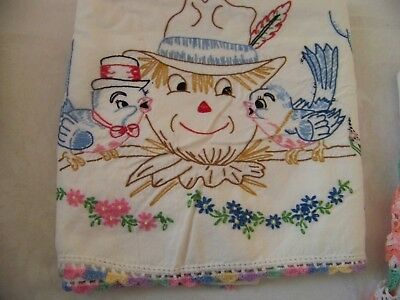13 Vintage Hand Embroidered Pillow cases Scarecrow Flowers Crocheted Pray hands