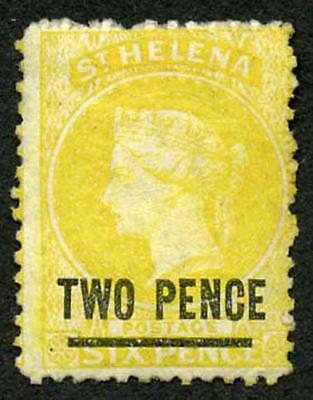 St Helena SG9 2d (type B ) on 6d yellow wmk Crown CC Perf 12.5 Mint (part gum)