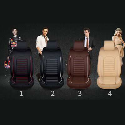Universal Car Seat Mat Covers PU Leather Breathable Protector Cushion Pad Set