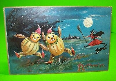 Tucks Original Halloween Series 150 Embossed Witch Chases Goblins Post Card #28