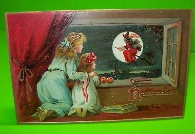 TUCKS Original 1908 Series 150 Halloween Postcard Embossed Flying Witch & Cat #9
