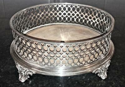 Fine Antique Reticulated Silver Plated Condiment Stand with Angel Feet C 1840+