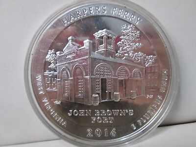 2016 Harpers Ferry West Virginia .999 Silver 5 Ounce Quarter Coin
