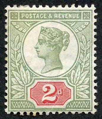 QV 2d Green and vermilion Jubilee SG200 Average Mounted Mint