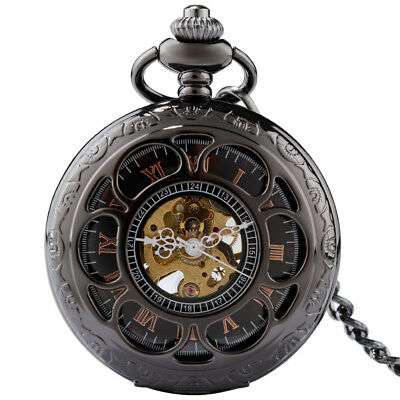 Antique Steampunk Mechanical Pocket Watch with Chain Fob Petals Black Roman Dial