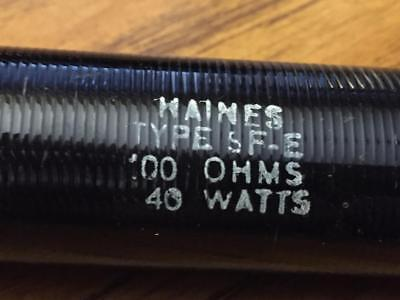 Maines Electronics 40 Watt 100 Ohm Resistor #sf-3 Enamel Coated New Old Stock