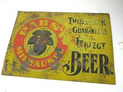 Prepro Pabst Beer tin sign aprox 1910 by Standard Adv. Co. Coshoctton Ohio 10x13