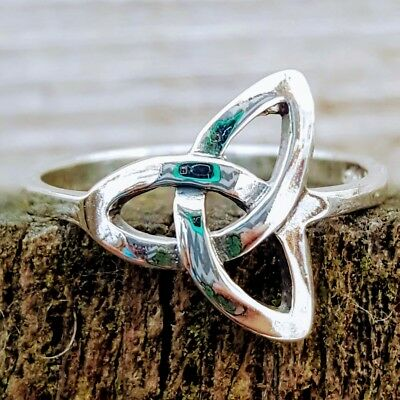 .925 Sterling Silver Ring Celtic Triad Triquetra Ladies size 3-10 Midi Thumb New