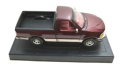"""Used Ertl Ford F150 Pickup Truck In Maroon On Stand 1:18 Scale 11.5"""" Long"""