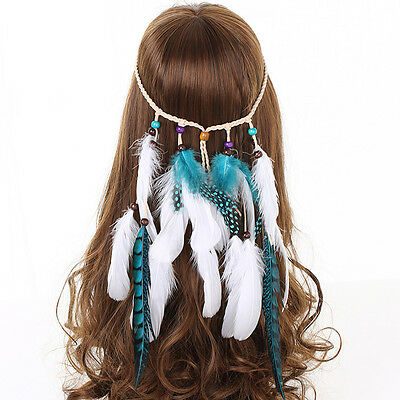 Womens Indian Hippie Feather Headband Hair Band Carnival Tassels Costume Party