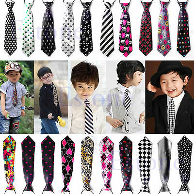 Children Kids School Boys Elastic Necktie Formal Casual Neck Tie Pre-Tied Party