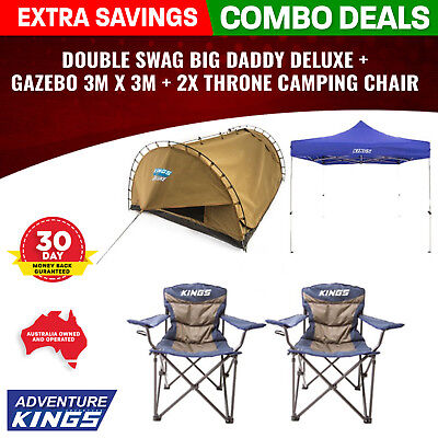 Adventure Kings Double Swag Big Daddy Deluxe + Gazebo 3m x 3m + 2x Throne Campin