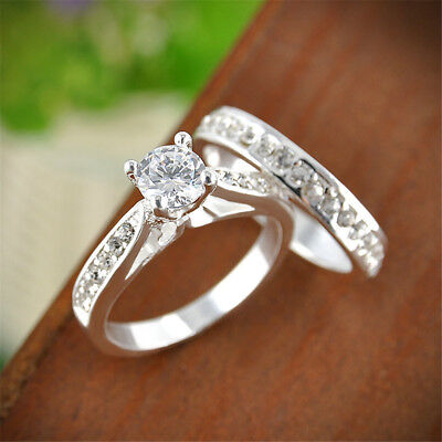 2Pcs Women Silver Plated Zirconia Crystal Wedding Engagement Rings Jewelry