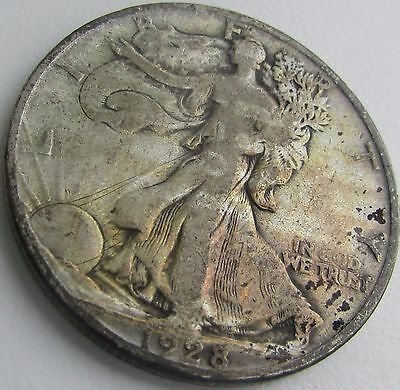 1928-S Large S Fine Walking Liberty Silver Half Dollar in a SAFLIP®