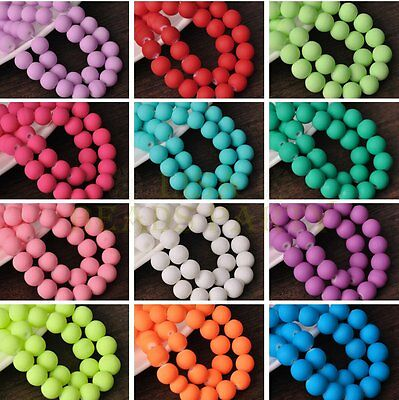 New 4mm 6mm 8mm 10mm Round Rubber Like Loose Glass Spacer Bead Lots Wholesale
