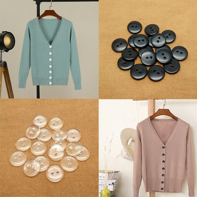 Lots 100x 2 Holes Resin Round Flat Button Sewing Shirts Blouse Coat Suits Craft