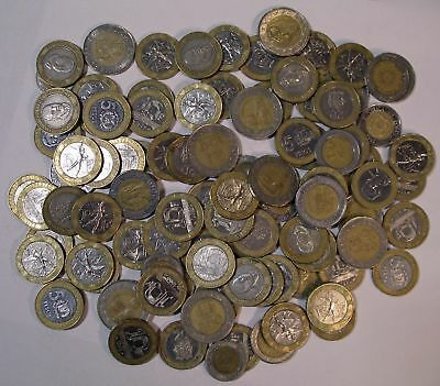 100 assorted BIMETALLIC COINS nice lot many different