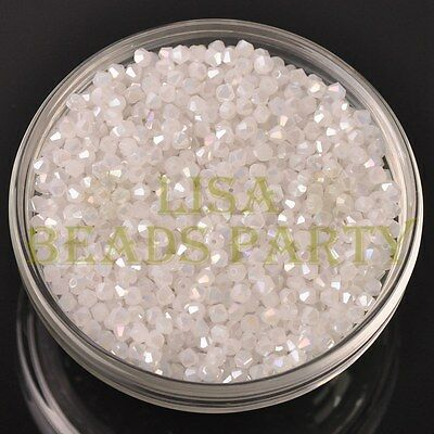 New 200pcs 3mm Bicone Faceted Crystal Glass Loose Spacer Bead Jade White AB
