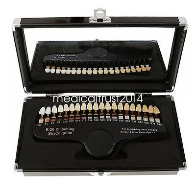 20 colors Dental Shade Guide w case for comparing Teeth shades after Bleaching