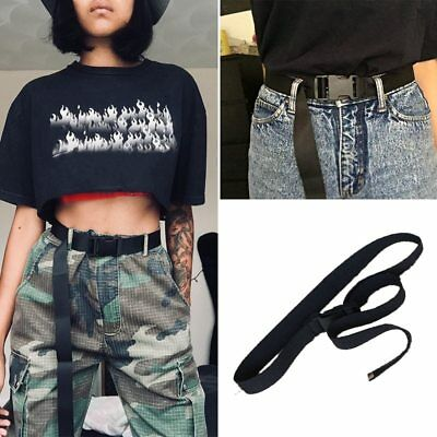 Black Canvas Waist Belt Women Casual Female Long Belts Plastic Buckle Harajuku