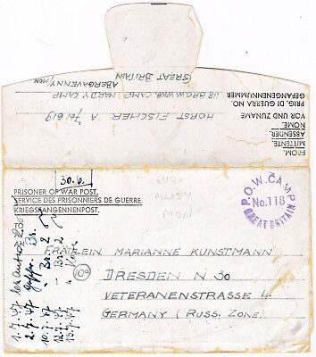 # 1947 GB No 118 POW CAMP MARDY ABERGAVENNY MONMOUTHSHIRE LETTERSHEET TO GERMANY