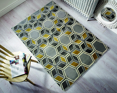 Modern Grey Ochre Yellow Geometric Rugs Soft Moroccan Small Large 3D Trellis Rug