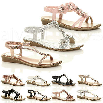 Womens Ladies Flat Low Wedge Heel T-Bar Diamante Flower Slingback Sandals Size
