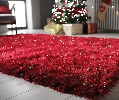 Modern Red Silver Cosy Shaggy Rugs Soft Thick Furry Shimmer Living Room Rug UK