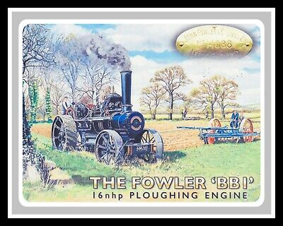 The Fowler BBI Ploughing Engine Metal Wall Sign 30cm X 40cm DS