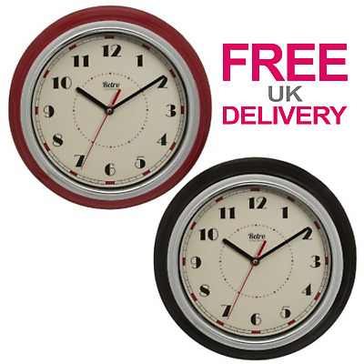 Retro Wall Clock Analogue Round Quartz Movement Battery Operated Home Decor