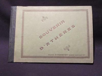 """Souvenir D'Athenes Early 1900s Cardboard Covered 10 X 7"""" Book of 20 B&W Photos"""