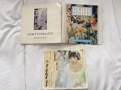 "SCRITTI POLITTI 3 x 7"" SINGLES THE WORD GIRL ABSOLUTE & PERFECT WAY VERY GOOD"