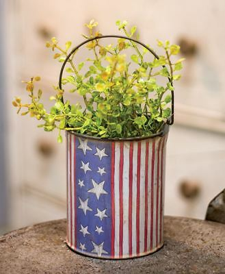 Country new small distressed AMERICANA FLAG design tin Pail