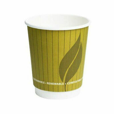 8oz Leaf Compostable Double Wall Takeaway Hot Cup For Tea & Coffee - Pack of 100