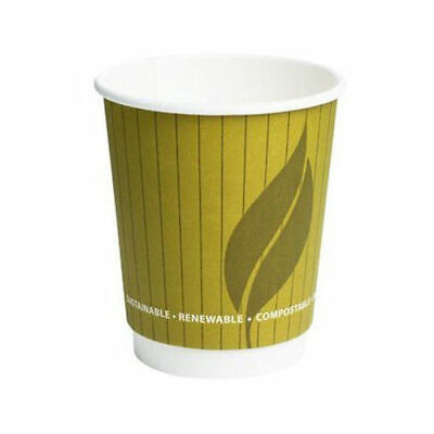 8oz Leaf Compostable Double Wall Takeaway Hot Cup For Tea & Coffee - Pack of 500