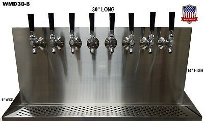 Wall Mount Beer Dispenser 8 Faucets- Steel Draft Beer Tower made in USA- WMD30-8